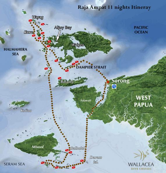 Itinéraire de notre croisière à Raja Ampat