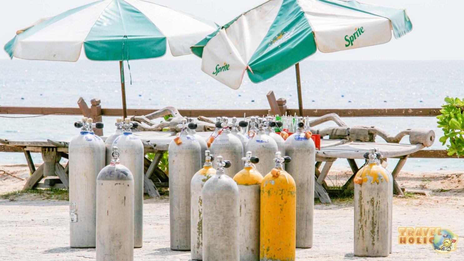 Bouteilles de plongée à Koh Tao